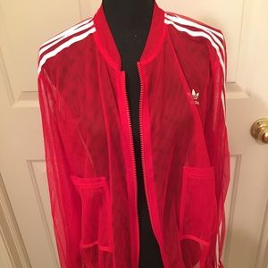 NWT AUTHENTIC ADIDAS SEMI-SHEER RED TRACK JACKET